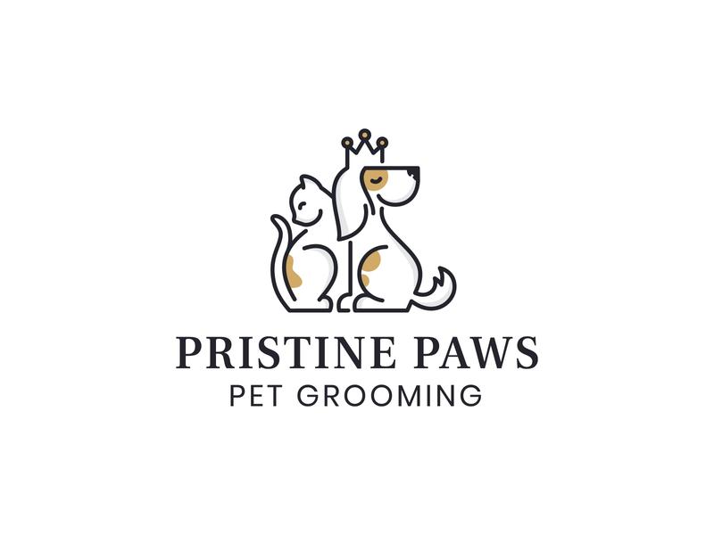 Pristine Paws Pet Grooming Logo grooming pet logo