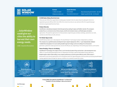 Solar Window One Page Fact Sheet