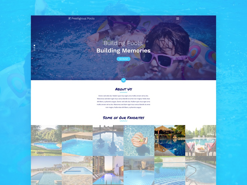 Prestigious Pools - Website - Home Page Design water pools home page