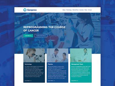 Genprex Website Design biotech cards home page website