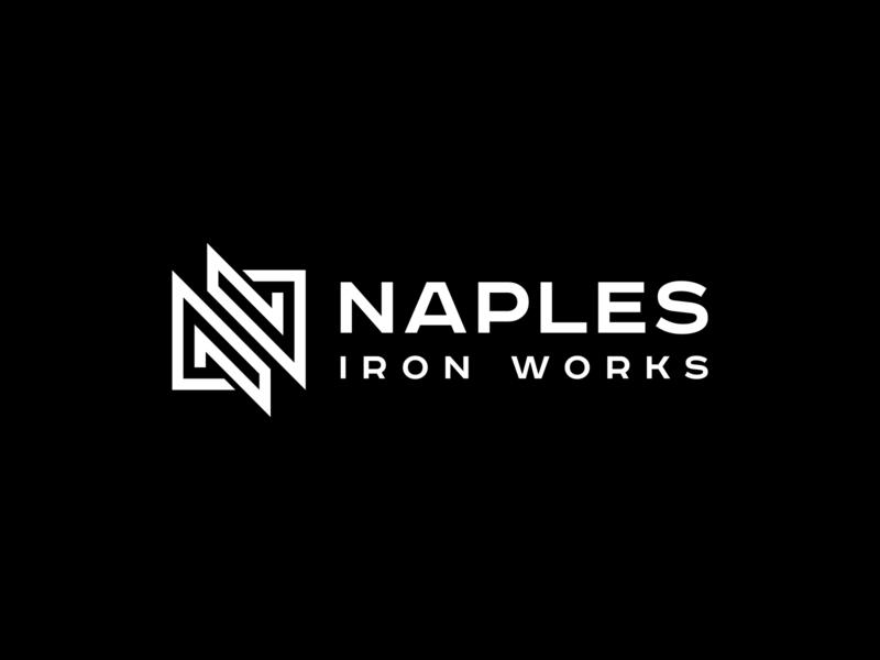Naples Iron Works Logo brand black and white naples iron logo