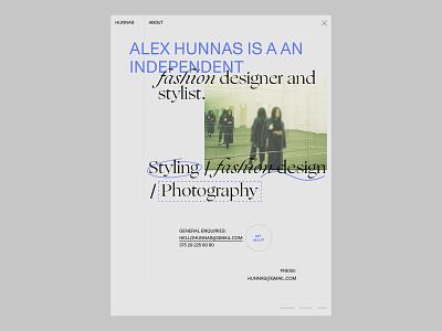 About - HUNNAS concept design ux website design web web design ui design minimal ui website branding design