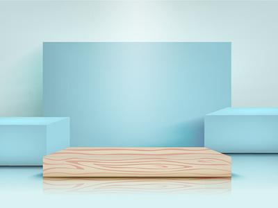 Stage gradient cartoon mesh design illustrator illustration blue vector stage realistic