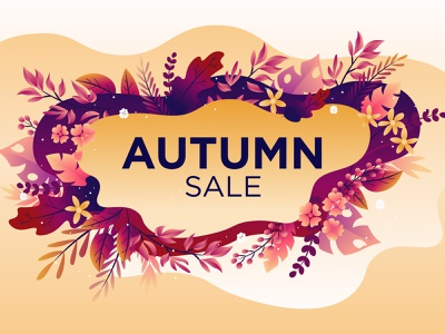 Autumn sale banner beautiful cartoon mesh gradient illustration vector illustrator design baclground abstract art leaves sale banner autumn