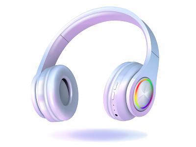 Headphones icons bright cartoon gradient mesh vector design style realistic illustration illustrator headphone