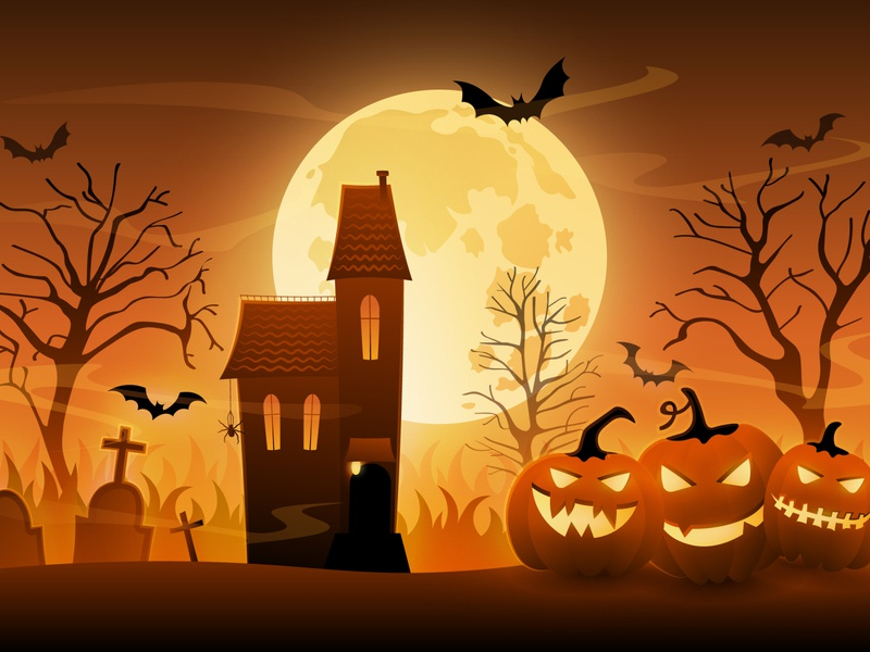 Hallooween scary house bat moon pumpkins bright cartoon gradient illustration vector illustrator design halloween flyer