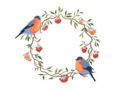 Winter Wreath berries leaves winter bird wreath love icons cartoon illustration vector illustrator design