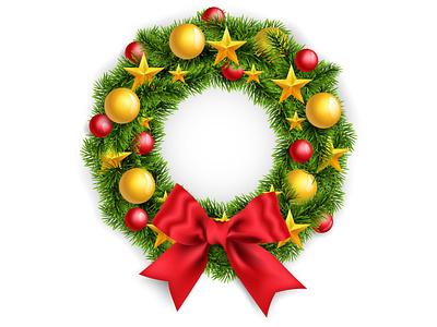 Christmas Wreath winter new year happy holidays gold red green christmas tree wreath christmas realistic illustration bright icons cartoon mesh gradient illustrator vector design