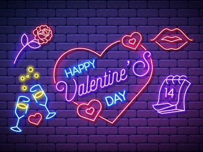 Valentines Icons red violet bubbles flower rose heart glasses champagne 14 february lips bright cartoon mesh illustration vector design illustrator neon icons happy valentines day