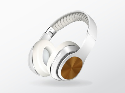 Realistic Headphones vectors design illustrator icons gradient cartoon mesh illustration vector modern light grey white headphones
