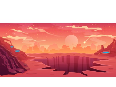 Mars peisage cartoon illstrator design mystic sky startup vector stars life water sand orange planet red astronaut cosmic space landing mars