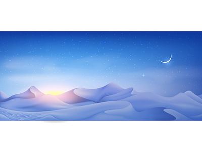 Dunes at Night digital artwork night mode gradient icons cartoon illustration vector design illustrator nightlife landscape arabic sand stars night dunes