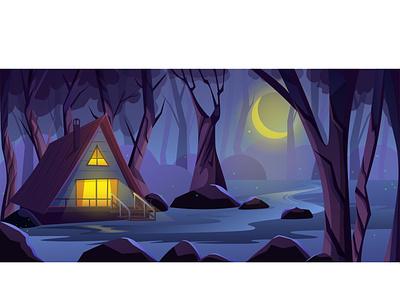 Forest at Night landscape peisage wood houses realistic bright gradient cartoon illustration trees illustrator art vector dark house moon night forest