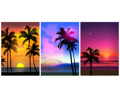 Summertime design days warm vectorart vector ocean sea water illustraion illustrator sky sunset beach palms realistic views landscapes flyer summertime summer