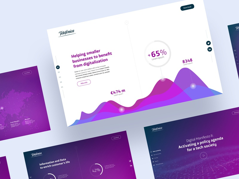Telefonica Onepage design graphics one page website onepage onepager one page site one page design one page presentation design data tech technology data visualisation power point pitchdeck pitch deck infographic powerpoint presentation keynote startup