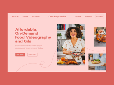 One page Website for Over Easy Studio landing landing page uxui ux one page onepager onepage website startup