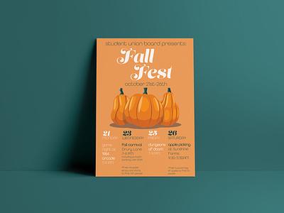 Fall Fest Poster green orange autumn pumpkin fall type typography illustration promotional design promotional flyer marketing poster design poster