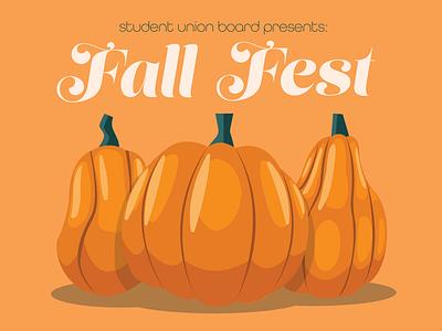 Fall Fest promotional marketing promo poster design poster type vector green orange illustration pumpkin fall