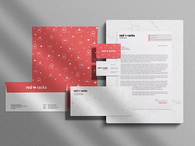 Red Racks Stationary icon envelope mockup stationary business card logo design logo illustration concept rebrand identity branding