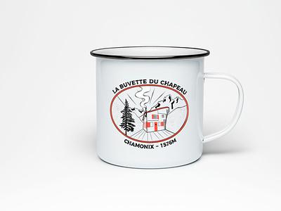 La Buvette du Chapeau mountain logo logodesign logo design chamonix shack red mountain cabin logo