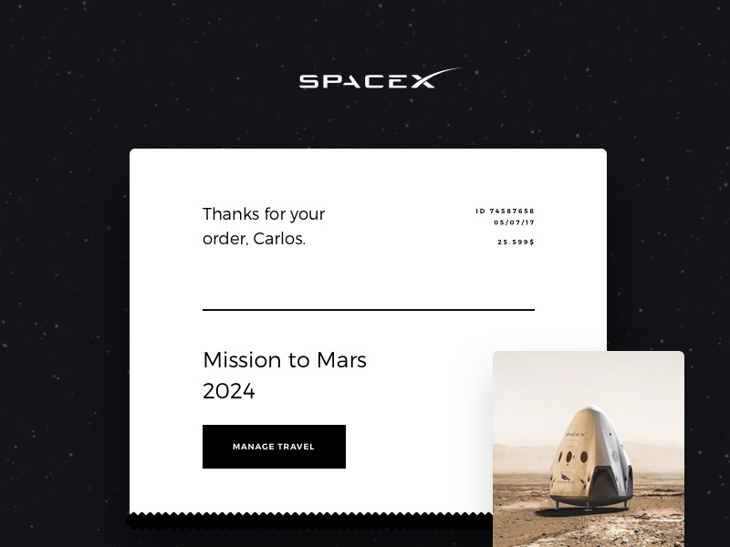 Daily UI #017 - Email Receipt daily ui ui email receipt mars spacex desktop concept app travel elon musk