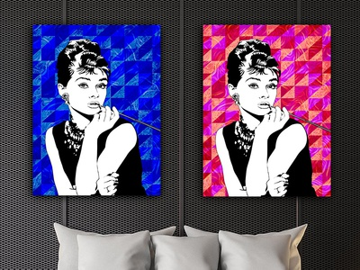 Audrey Hepburn Red And Blue Canvas