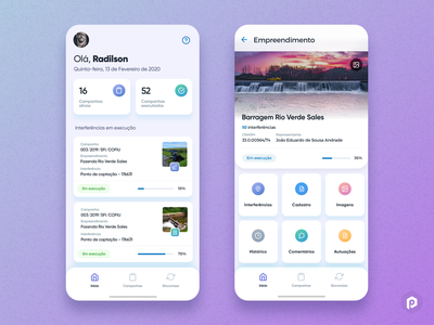 Water Inspection App purple gradient two-tone cards dashboard inspection colorfull icons water purple uiux uidesign mobile ui mobile app