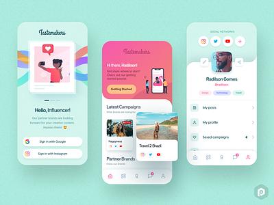 Tastemakers App Concept 😎 pastel gradient tabs influencer onboarding profile uiux design brazil app ux mobile ui pixeldrops