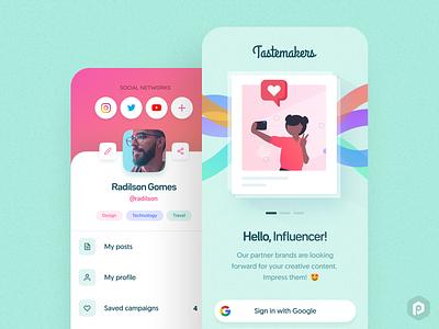 Tastemakers App Concept #2 😎 makers creative brands pastel influencer ux pixeldrops uiux design brazil app mobile ui