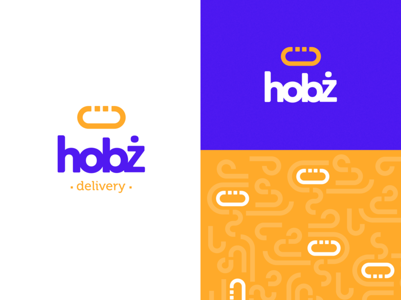 🥖hobż - Bakery Marketplace baked bakery purple logo pattern yellow purple bread logo branding