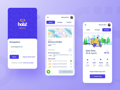 Hobz Delivery - Courier App 🥖 design gradient ux app ux ui bakery yellow purple uidesign mobile ui bread delivery