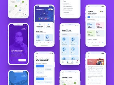 Brazil's Official COVID-19 App covid-19 covid19 uiux mobile app brazil pandemic onboarding purple mobile ui covid coronavirus