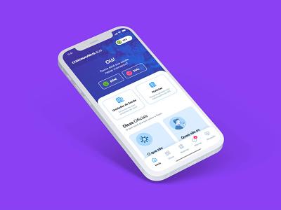 Brazil's Official COVID-19 App #02 ux ios brazil health symptom purple home mobile ui covid-19 covid19 covid coronavirus