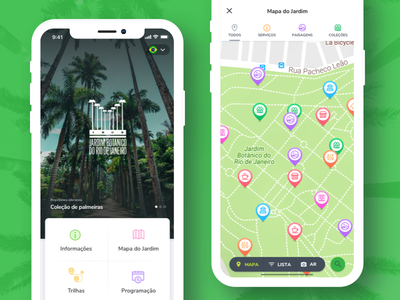 Rio de Janeiro's Botanical Garden markers map iphone x user experience user interface brazil rio de janeiro garden botanical mobile ui app