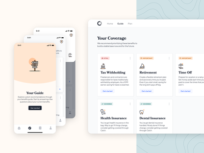Introducing Guide ux catch guide ios app health insurance insurance retirement taxes freelance finance fintech benefits