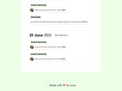 Shoutout Activity Page saas design ux ui