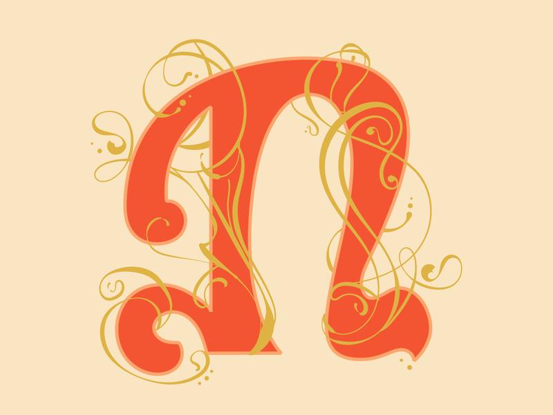 N—Nouveau n nouveau illustration dropcap lettering 36daysoftype