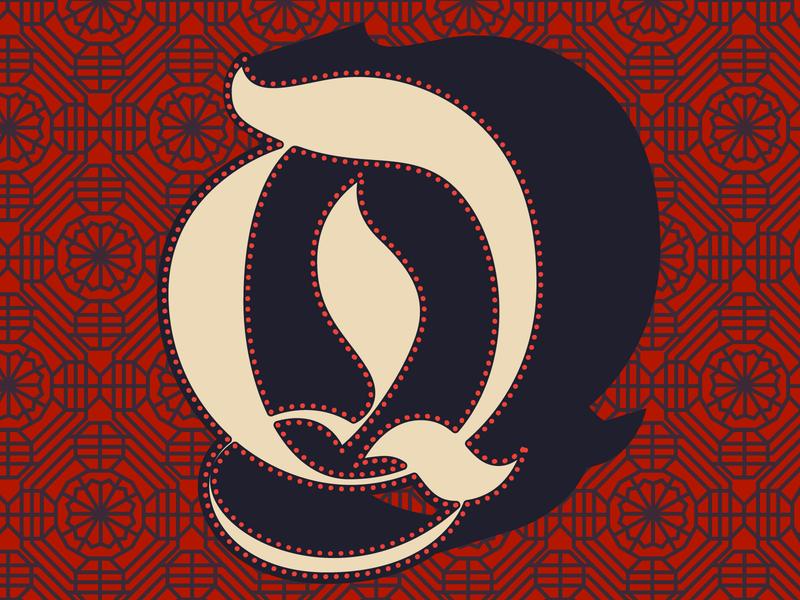 Q—Qajar Art qajar design illustration dropcap lettering 36daysoftype