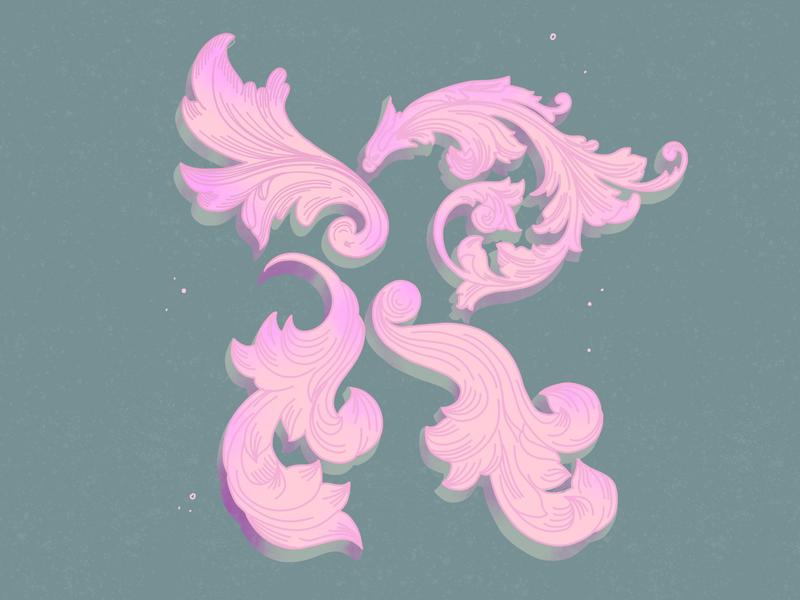 R—Rococo rococo illustration dropcap lettering 36daysoftype