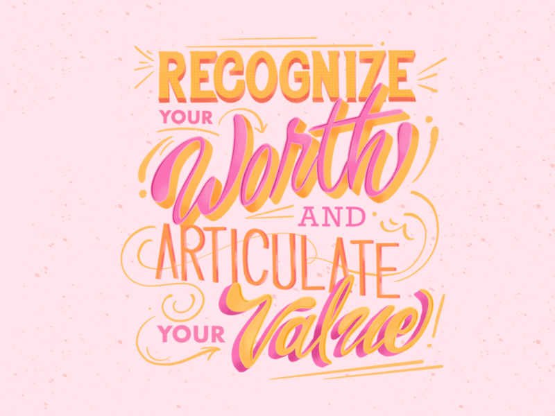 Recognize Your Value career design illustration lettering