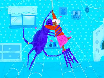 A ~ La araña abrazando a la abuela. español abuelita araña 36daysoftype-a illustration dropcap lettering 36daysoftype