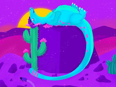 D ~ Un dragón(a) dormido en el desierto. letter d dragon 36days-d illustration dropcap lettering 36daysoftype