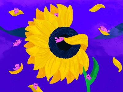 G ~ Gatitos en el girasol gigante. gatitos kittens sunflower cats letter g 36days-g 36daysoftype-g illustration dropcap lettering 36daysoftype