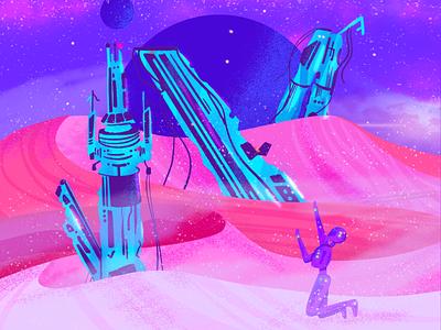 N ~ La nave espacial naufragó en Neptuno letter n spaceship wreck spaceship neptune 36days-n 36daysoftype08 space illustration 36daysoftype