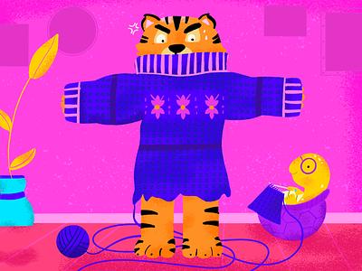 T~ La tortuga teje algo para el tigre t procreate tortoise knitting tiger 36days-t 36daysoftype08 illustration 36daysoftype