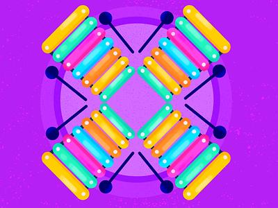 X ~ Los xilófonos 36daysoftype08 procreate xylophone x 36days-x dropcap lettering 36daysoftype