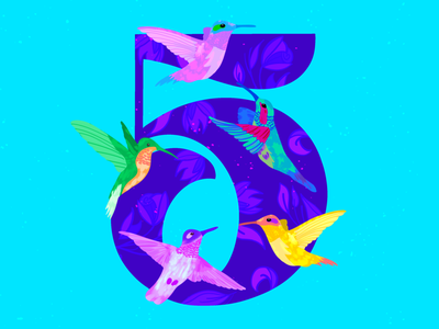 5 ~ Cinco colibríes procreate illustration birds cinco hummingbird 36daysoftype08 5 36days-5 36daysoftype