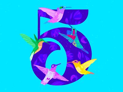 5 ~ Cinco colibríes procreate illustration birds cinco hummingbird 36daysoftype08 5 36days-5 36daysoftype