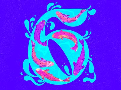 6 ~ Seis salmones fish 6 swimming procreate water salmon 36days-6 36daysoftype08 illustration 36daysoftype