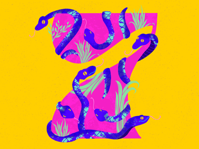 7 ~ Siete serpientes lettering number procreate snake serpent 7 36days-7 36daysoftype08 36daysoftype